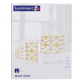 Bộ Bình Ly Thủy Tinh Luminarc 7 Món Maze Gold J6283