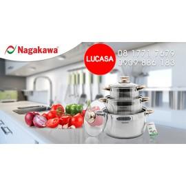 Bộ Nồi Inox Nagakawa NAG1301 - 3 Nồi Đáy 5 Lớp