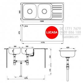 Chậu Rửa Chén Inox Hafele HS20-SSD2R90 567.20.513