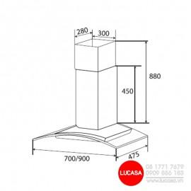 Máy Hút Mùi Kaff KF-GB906 - 90cm