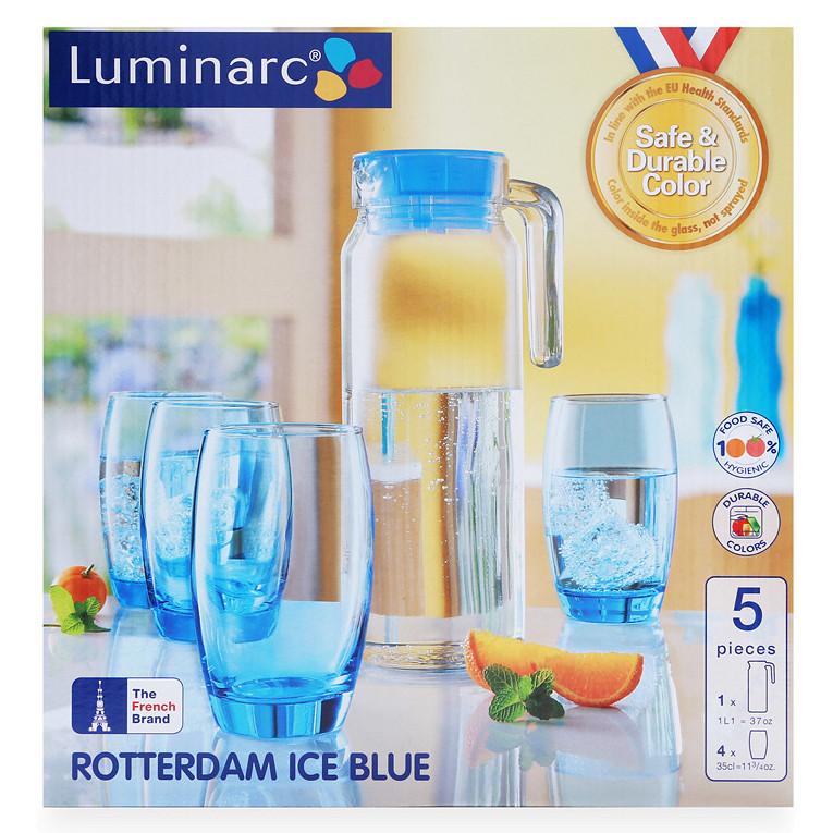Bộ Bình Ly Thủy Tinh Luminarc 5 Món Rotterdam Ice Blue J1799