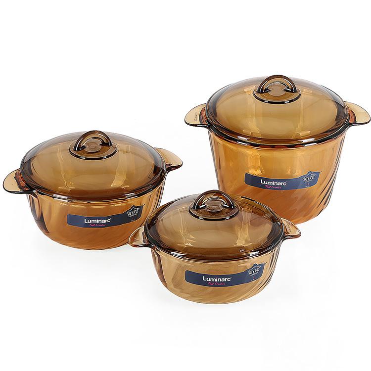 Bộ 3 Nồi Thủy Tinh Luminarc Trianon Amberline 1.5L-2.5L-3.5L