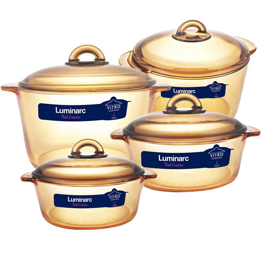 Bộ 4 nồi thủy tinh Luminarc Vitro Amberline Granite 1L-1.5L - 2L - 3L
